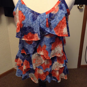 I.N.C Red/Blue Strap Sleeveless Blouse Top L